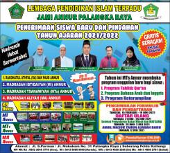 Banner PPDB RA-MI-MTs-MA 2021/2022 Yayasan Jami' Annur Palangka Raya